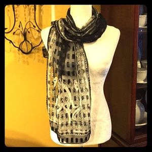 Sheer Moroccan Style Scarf Black/Silver 13x60